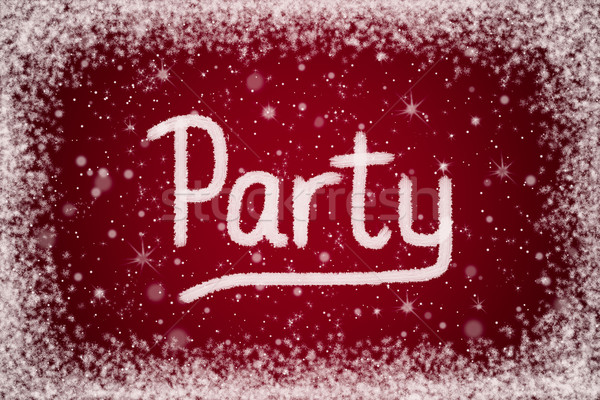 Winter Party Invitation on Red Snowy Background Stock photo © scheriton