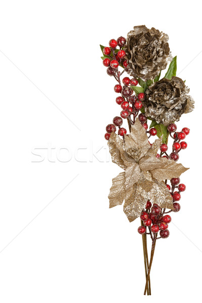 Sparkly Pewter Flowers Shiny Red Berries and Gold Leaves Stock photo © scheriton