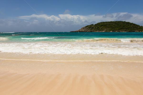 Atlantic Waves on Beautiful Golden Sandy Beach Antigua Stock photo © scheriton