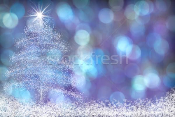 Belo árvore de natal neve azul roxo água Foto stock © scheriton