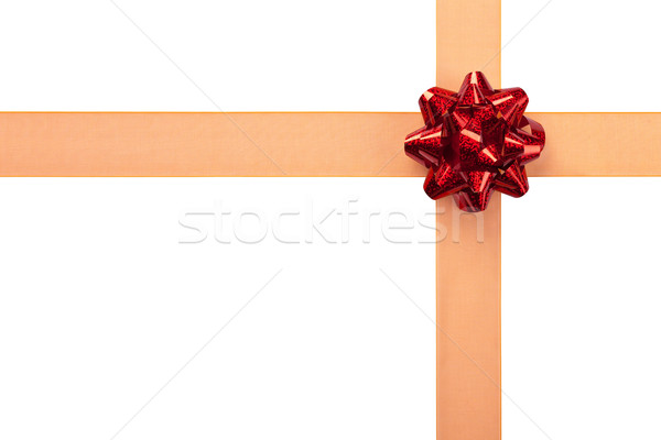 Gift Wrap with Orange Ribbon with Red Shiny Bow Stock photo © scheriton