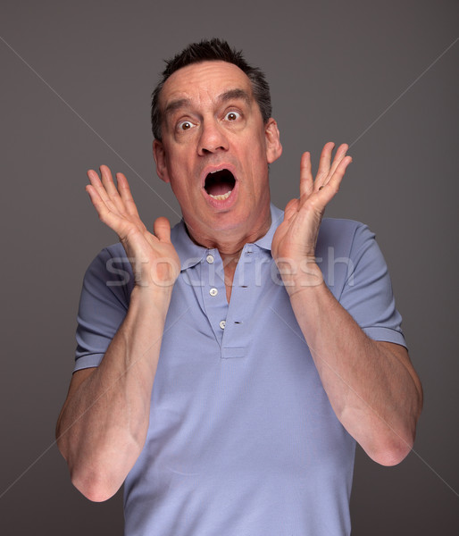 Stock photo: Man Screaming in Shock with Hands Raised