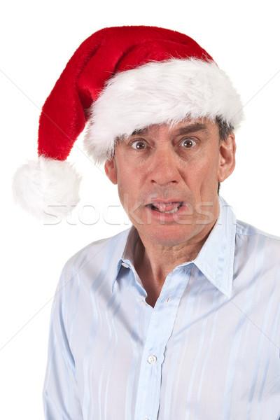 Headshot of Shocked Business Man in Santa Hat  Stock photo © scheriton