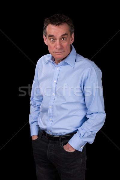 Foto stock: Surpreendido · homem · de · negócios · azul · camisas