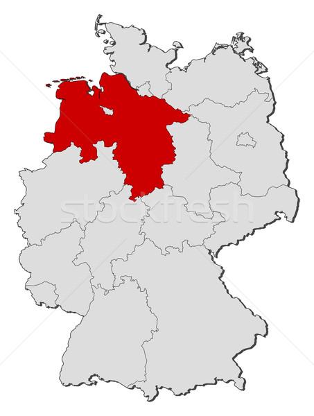 Map of Germany, Lower Saxony highlighted Stock photo © Schwabenblitz