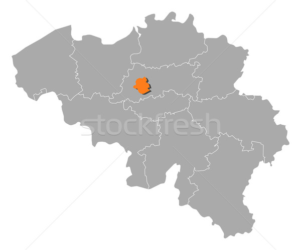 Map of Belgium, Brusseles highlighted Stock photo © Schwabenblitz