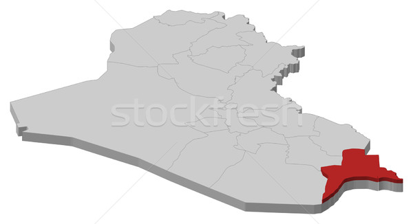 Map of Iraq, Basra highlighted Stock photo © Schwabenblitz