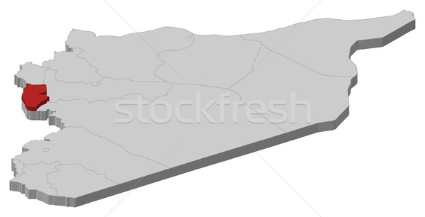Map of Syria, Tartus highlighted Stock photo © Schwabenblitz