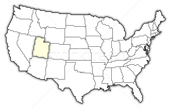 Map Of The United States Utah Highlighted Stock Photo Steffen - Utah us map