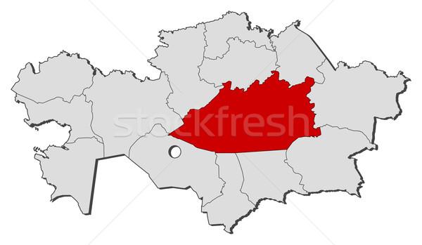 Harita Kazakistan siyasi birkaç bölgeler dünya Stok fotoğraf © Schwabenblitz