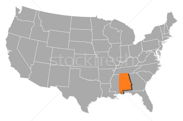 Map of the United States, Alabama highlighted Stock photo © Schwabenblitz