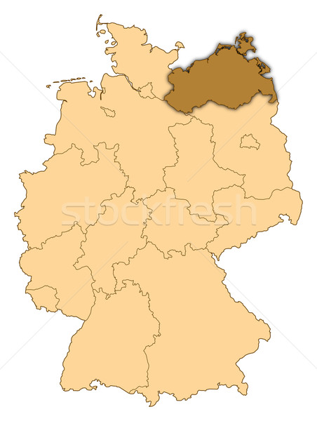 Map of Germany, Mecklenburg-Vorpommern highlighted Stock photo © Schwabenblitz