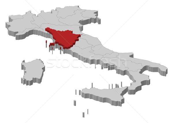 ストックフォト: 地図 · イタリア · トスカーナ · 政治的 · いくつかの · 地域