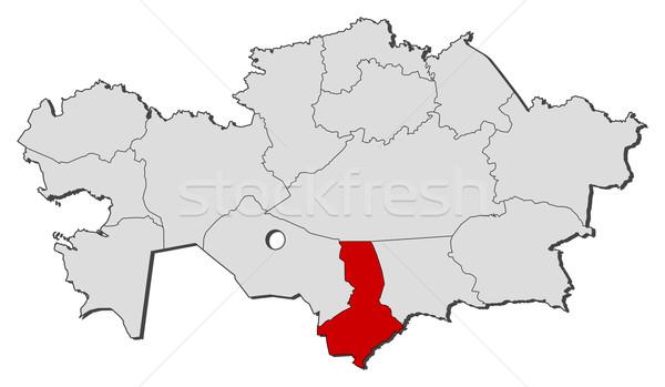 Mapa Cazaquistão sul político vários regiões Foto stock © Schwabenblitz