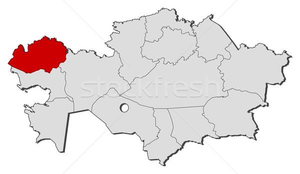 карта Казахстан Запад политический несколько Сток-фото © Schwabenblitz