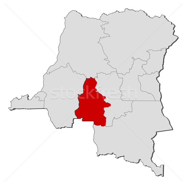 Map of Democratic Republic of the Congo, Kasai-Occidental highlighted Stock photo © Schwabenblitz