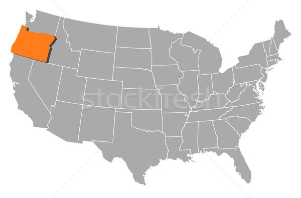 Map of the United States, Oregon highlighted Stock photo © Schwabenblitz