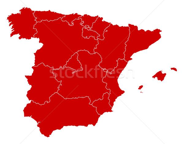 Mapa Espanha preto abstrato fundo vermelho Foto stock © Schwabenblitz