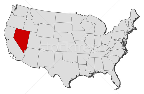 Map Of The United States Nevada Highlighted Vector Illustration - Nevada in us map