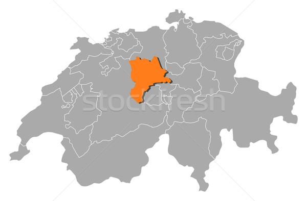 Map of Swizerland, Lucerne highlighted Stock photo © Schwabenblitz