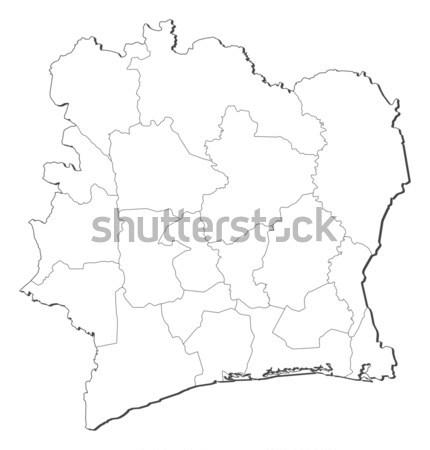 Stock fotó: Térkép · Elefántcsontpart · fekete · vonal · absztrakt · Föld