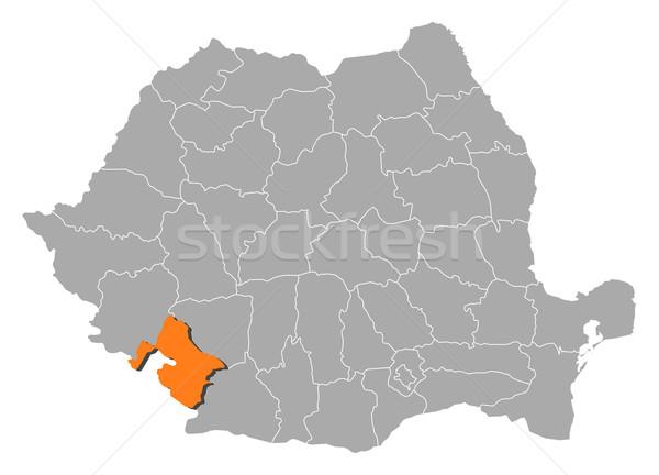 Map of Romania, Mehedinti highlighted Stock photo © Schwabenblitz