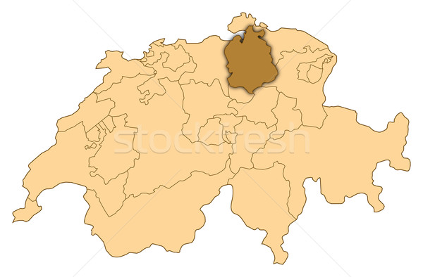 Map of Switzerland, Zurich highlighted Stock photo © Schwabenblitz