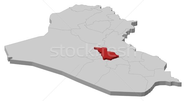 Map of Iraq, Babil highlighted Stock photo © Schwabenblitz