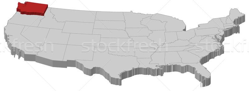 Foto d'archivio: Mappa · Stati · Uniti · Washington · politico · parecchi · abstract
