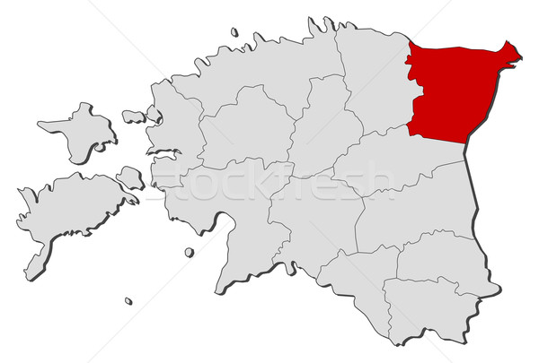 Map of Estonia, Ida-Viru highlighted Stock photo © Schwabenblitz