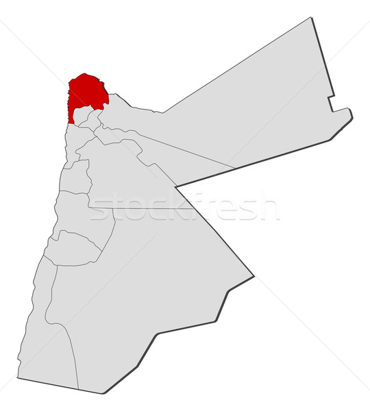 Map of Jordan, Irbid highlighted Stock photo © Schwabenblitz