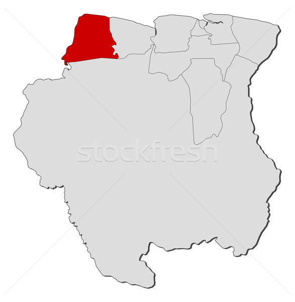 Map of Suriname, Nickerie highlighted Stock photo © Schwabenblitz