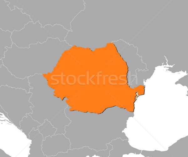 Stock fotó: Térkép · Romania · politikai · néhány · absztrakt · világ