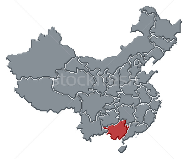 Map of China, Guangxi highlighted Stock photo © Schwabenblitz