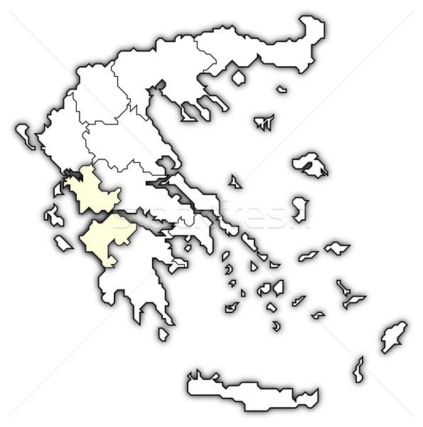 Сток-фото: карта · Греция · Запад · политический · несколько · аннотация