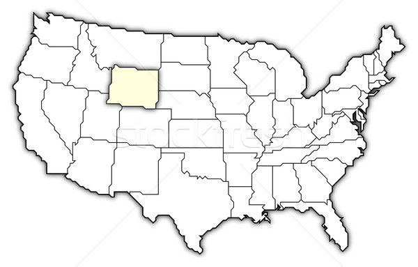 Map Of The United States Wyoming Highlighted Stock Photo - 95 of us map highlighted