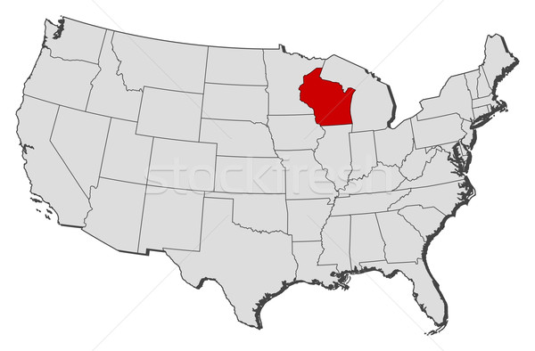 Us State Map Globalinterco - Wisconsin state map of us