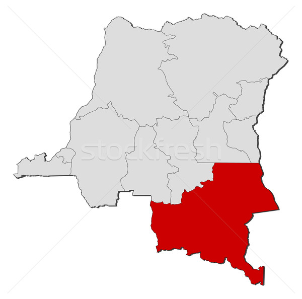 Map of Democratic Republic of the Congo, Katanga highlighted Stock photo © Schwabenblitz