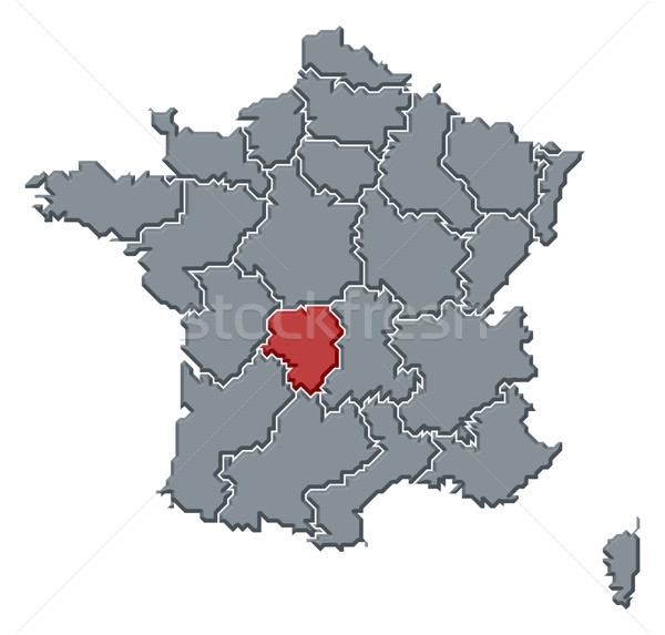 Map of France, Limousin highlighted Stock photo © Schwabenblitz