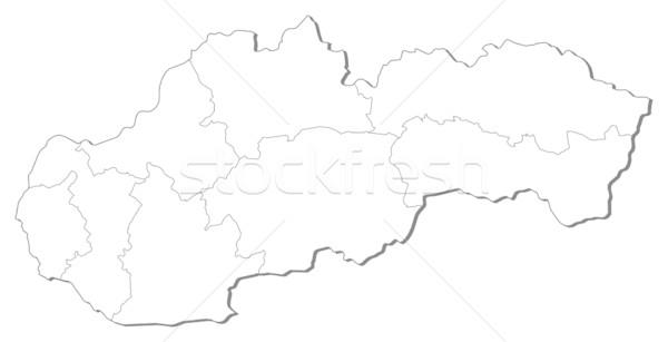 Térkép Szlovákia fekete vonal absztrakt Föld Stock fotó © Schwabenblitz