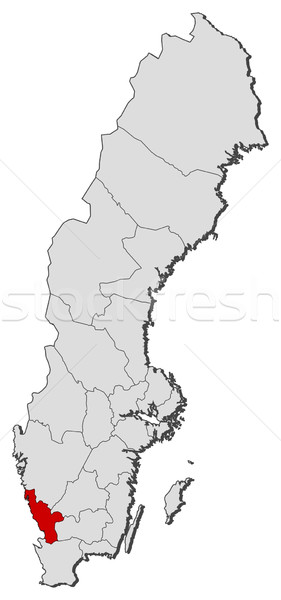 Stock photo: Map of Sweden, Halland County highlighted