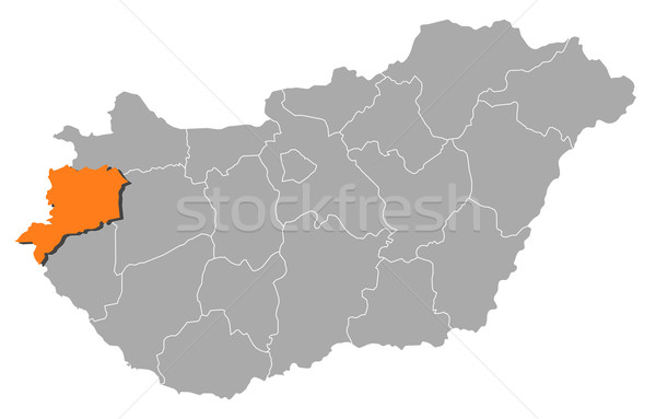 Map of Hungary, Vas highlighted Stock photo © Schwabenblitz