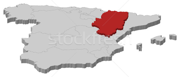 Map of Spain, Aragon highlighted Stock photo © Schwabenblitz