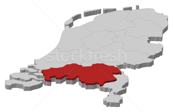 Map of Netherlands, North Brabant highlighted Stock photo © Schwabenblitz