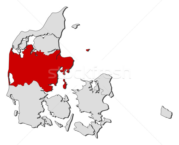 Map of Danmark, Central Denmark highlighted Stock photo © Schwabenblitz