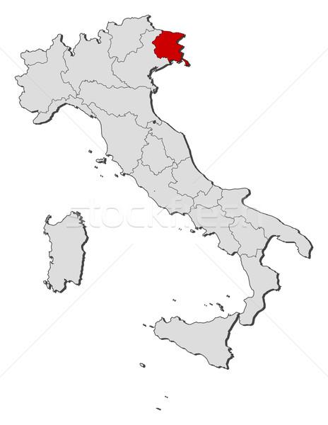 Stock fotó: Térkép · Olaszország · politikai · néhány · régiók · földgömb