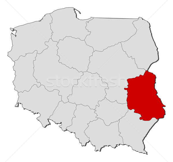 Map of Poland, Lublin highlighted Stock photo © Schwabenblitz