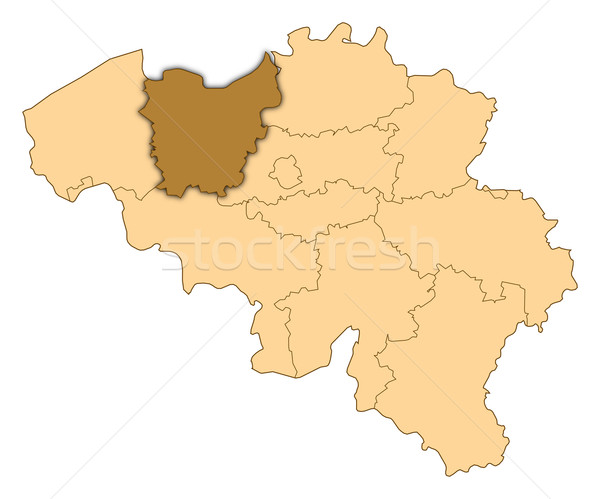 Map of Belgium, East Flanders highlighted Stock photo © Schwabenblitz
