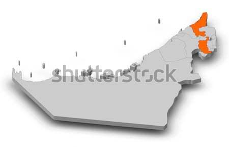 Mapa Emirados Árabes Unidos Dubai político vários abstrato Foto stock © Schwabenblitz