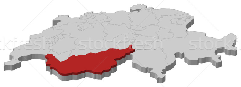 Map of Swizerland, Valais highlighted Stock photo © Schwabenblitz